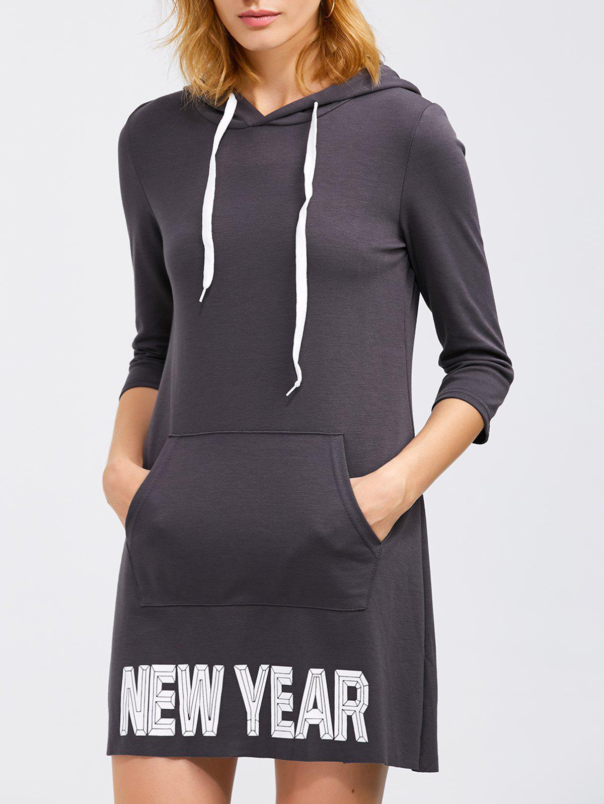 Chic New Year Drawstring Hoodie Dress With Pocket