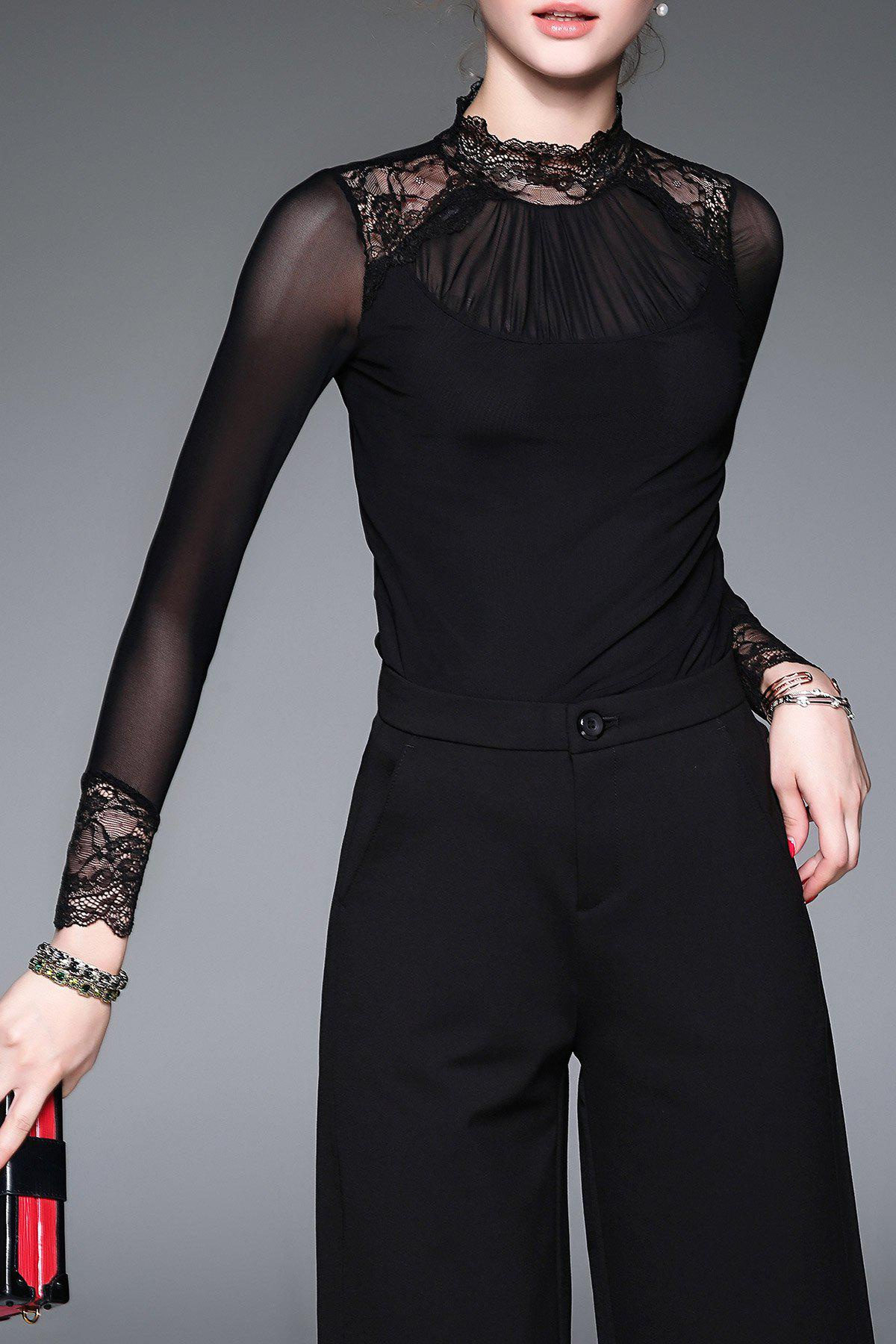 Best Stand Collar Lace Panel Tee