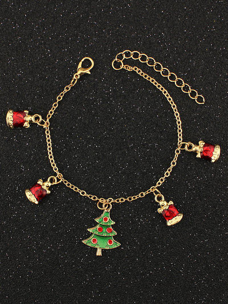 Rhinestone Christmas Tree Charm BraceletJEWELRY<br><br>Color: GOLDEN; Item Type: Charm Bracelet; Gender: For Women; Chain Type: Link Chain; Style: Trendy; Shape/Pattern: Plant; Weight: 0.040kg; Package Contents: 1 x Bracelet;