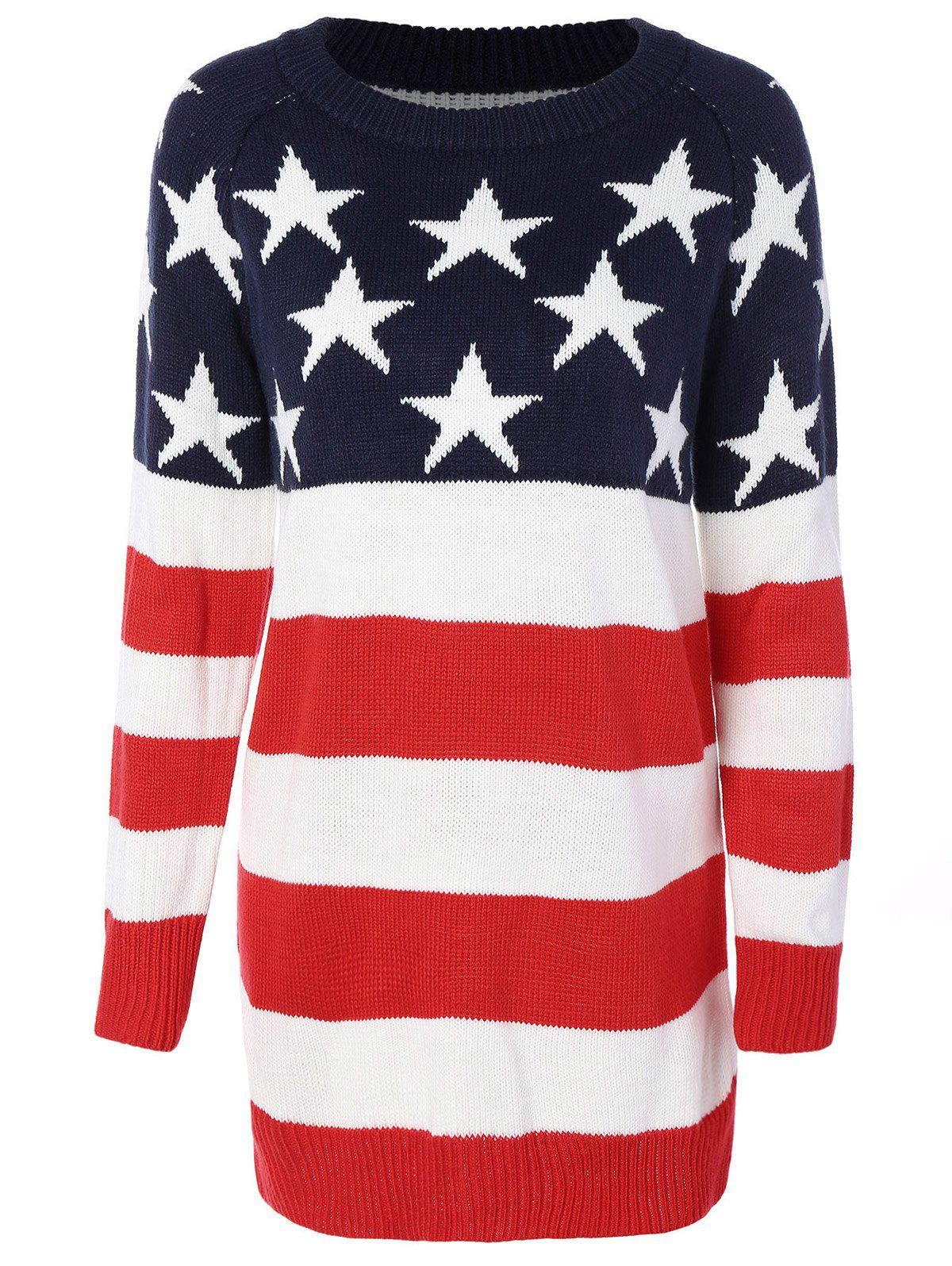 Flag Patterned Crew Neck Sweater Tunique Rouge et blanc et bleu M