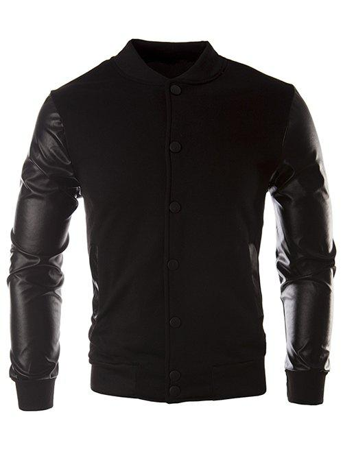 Color Block PU Leather Insert Button JacketMEN<br><br>Size: L; Color: BLACK; Clothes Type: Jackets; Style: Fashion; Material: Cotton,Faux Leather,Polyester; Collar: Stand Collar; Clothing Length: Regular; Sleeve Length: Long Sleeves; Season: Fall,Winter; Weight: 0.3510kg; Package Contents: 1 x Jacket;