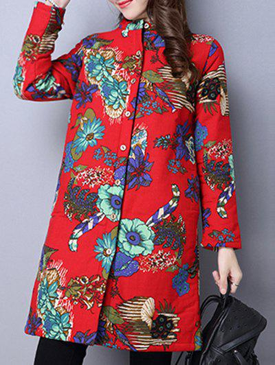 Online Floral Print Quilted Coat