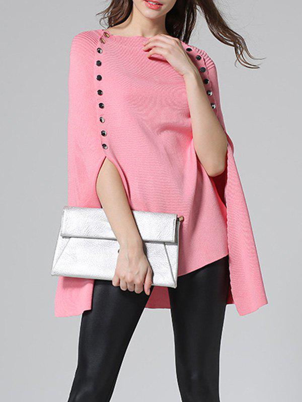 Poncho Pull entaillé Rose  M