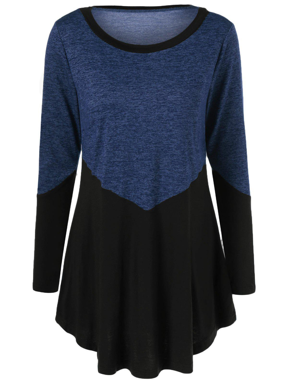 Patchwork Heather T-ShirtWOMEN<br><br>Size: L; Color: BLACK; Material: Rayon; Sleeve Length: Full; Collar: Scoop Neck; Style: Casual; Pattern Type: Others; Season: Fall,Spring; Weight: 0.3700kg; Package Contents: 1 x T-Shirt;
