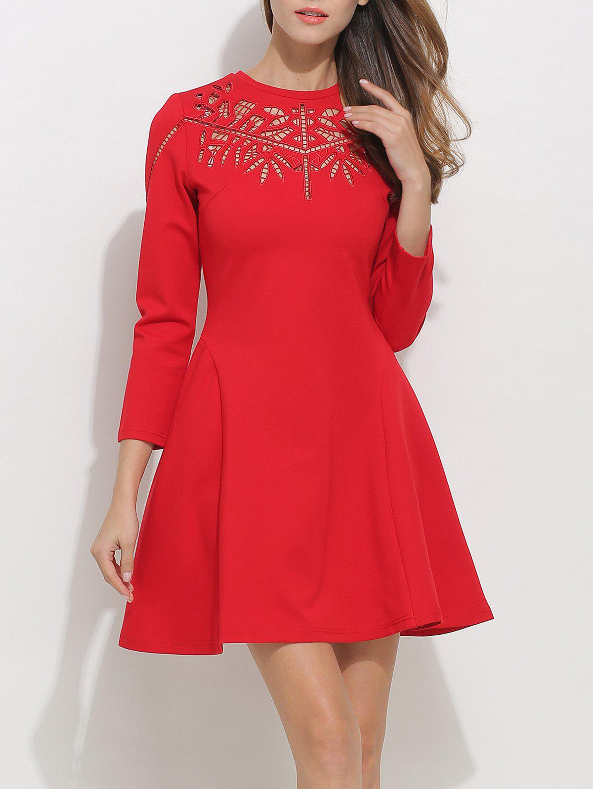 Unique Openwork Long Sleeve Fit and Flare Skater Dress