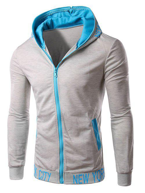 Hooded Color Block Zipper Design HoodieMEN<br><br>Size: XL; Color: GRAY; Material: Cotton,Polyester; Shirt Length: Regular; Sleeve Length: Full; Style: Fashion; Weight: 0.500kg; Package Contents: 1 x Hoodie;