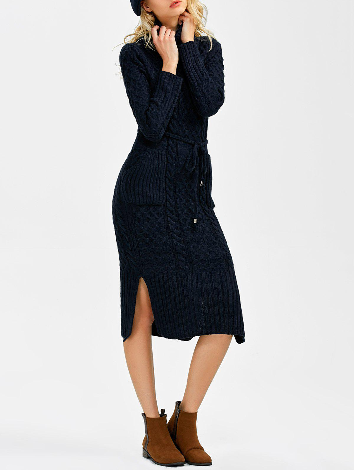 Hot Turtleneck Cable Knit Sweater Dress With Pockets