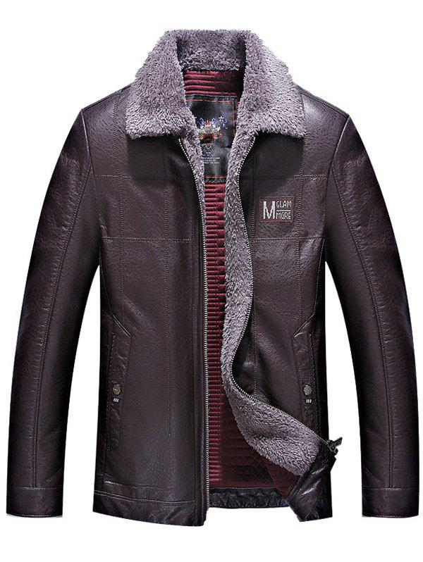 Best Turndown Collar Zip Up Patch PU Leather Jacket