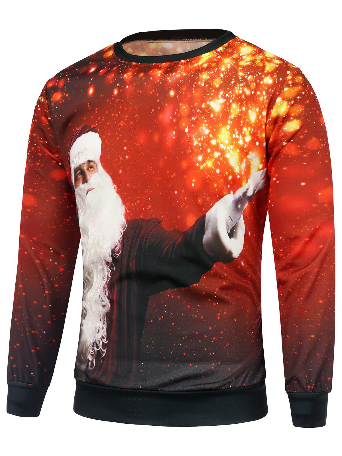 Christmas Santa Claus Printing SweatshirtMEN<br><br>Size: 3XL; Color: RED; Material: Cotton,Polyester; Shirt Length: Regular; Sleeve Length: Full; Style: Casual; Weight: 0.450kg; Package Contents: 1 x Sweatshirt;