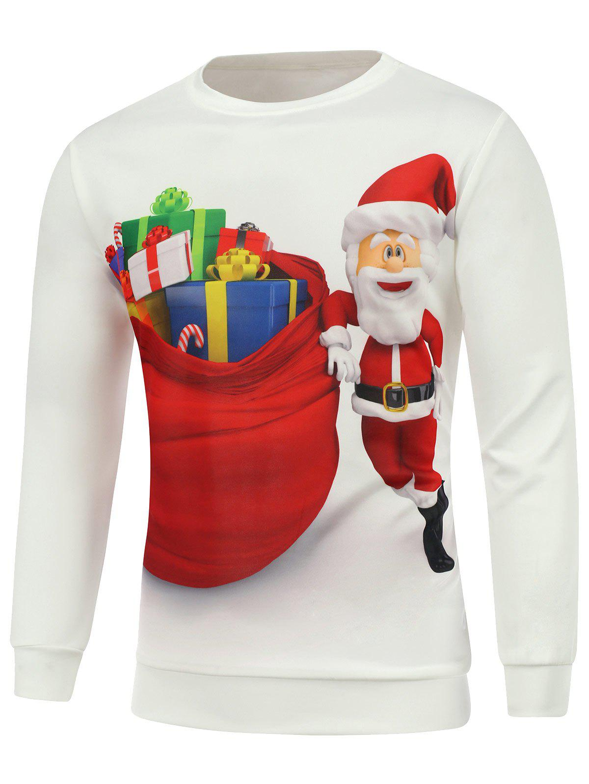 Christmas Santa Printed Long Sleeve SweatshirtMEN<br><br>Size: S; Color: WHITE; Material: Cotton,Polyester; Shirt Length: Regular; Sleeve Length: Full; Style: Casual; Weight: 0.450kg; Package Contents: 1 x Sweatshirt;