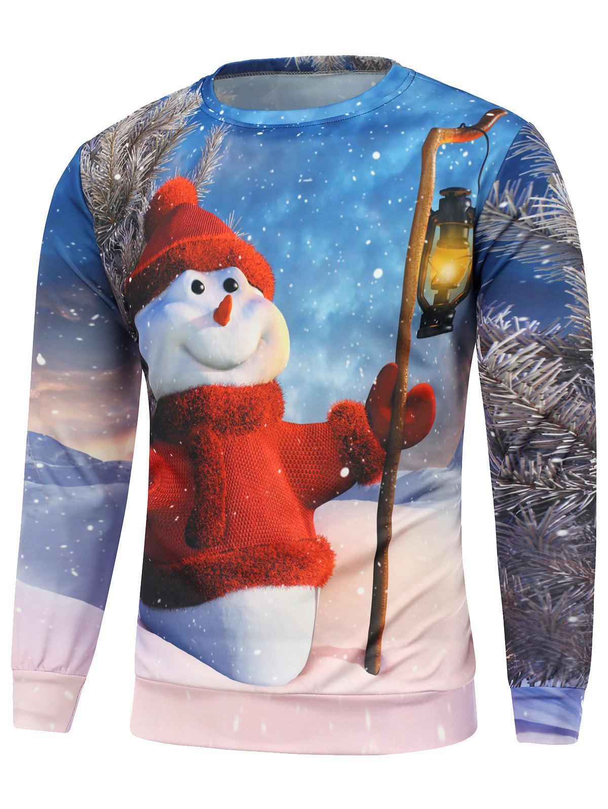 Christmas Snowman Printed Long Sleeve SweatshirtMEN<br><br>Size: S; Color: BLUE; Material: Cotton,Polyester; Shirt Length: Regular; Sleeve Length: Full; Style: Casual; Weight: 0.450kg; Package Contents: 1 x Sweatshirt;