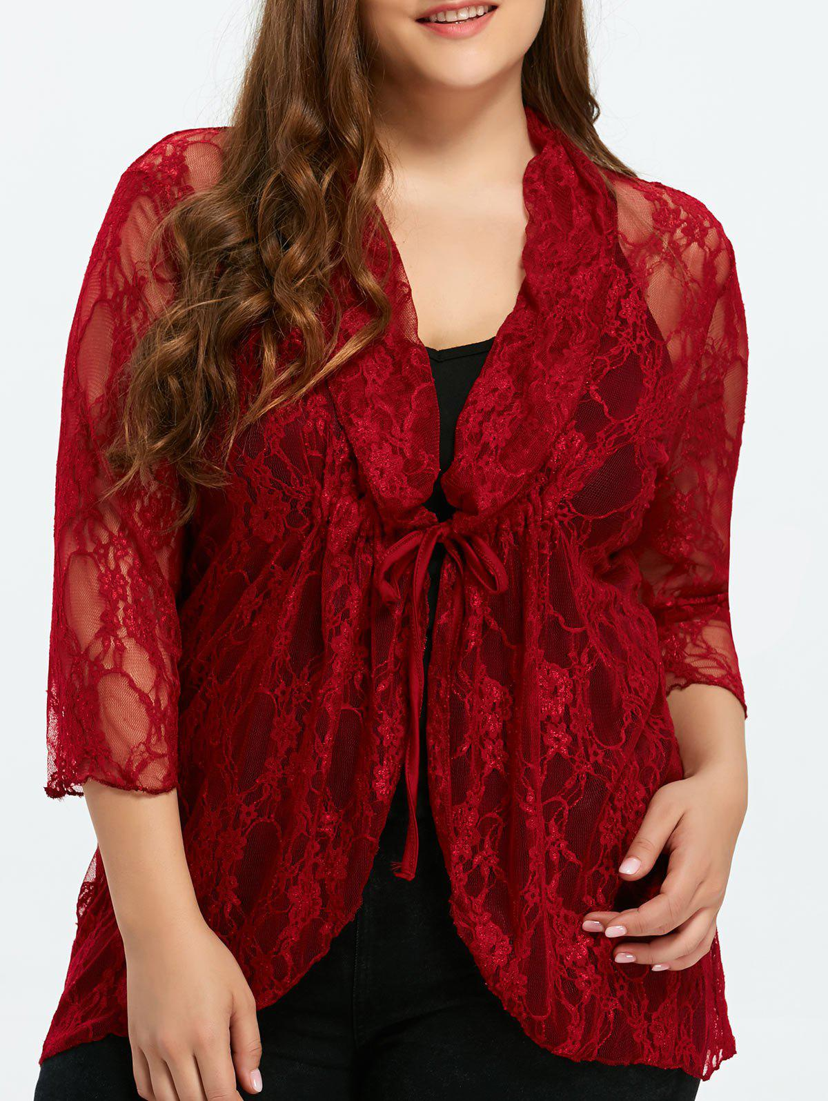 Best Plus Size Drawstring Asymmetric Lace Jacket