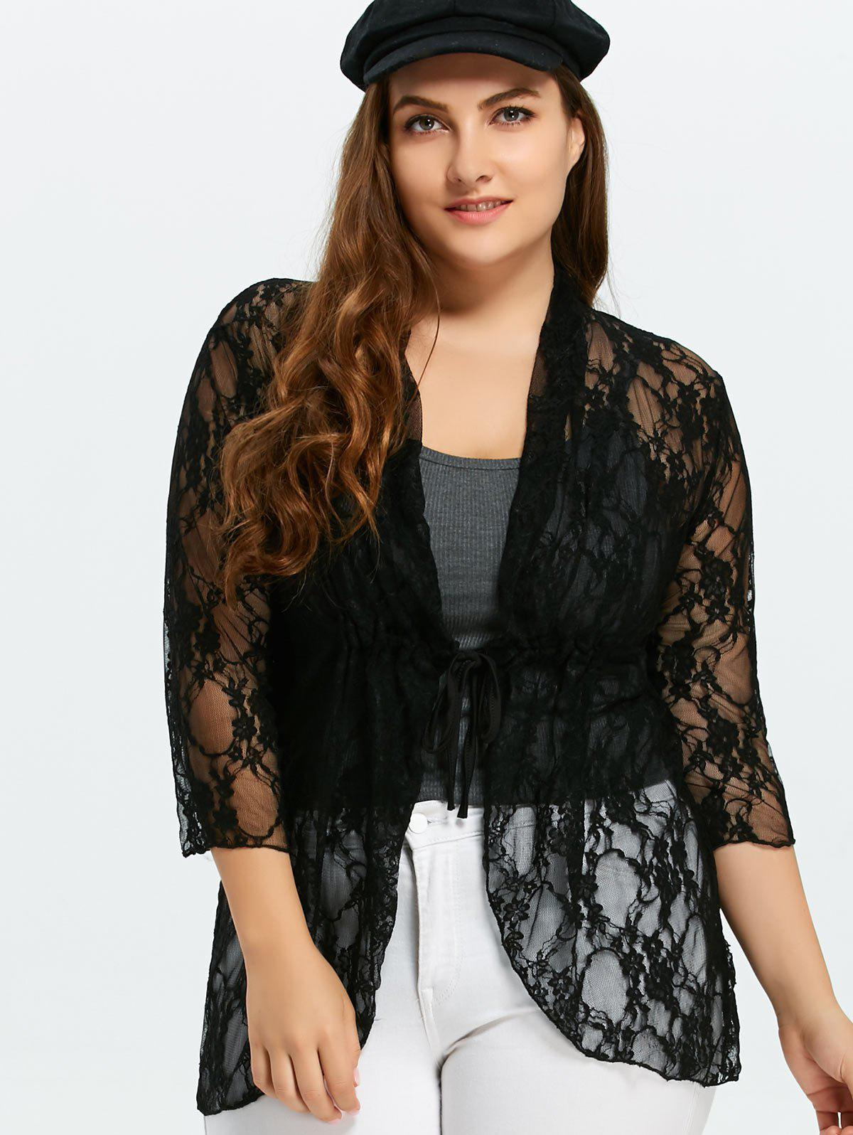 Plus Size Drawstring Asymmetric Lace JacketWOMEN<br><br>Size: 5XL; Color: BLACK; Clothes Type: Jackets; Material: Polyester; Type: Slim; Shirt Length: Long; Sleeve Length: Three Quarter; Collar: Shawl Collar; Pattern Type: Solid; Embellishment: Lace; Style: Casual; Season: Fall,Spring; Weight: 0.3500kg; Package Contents: 1 x Jacket;