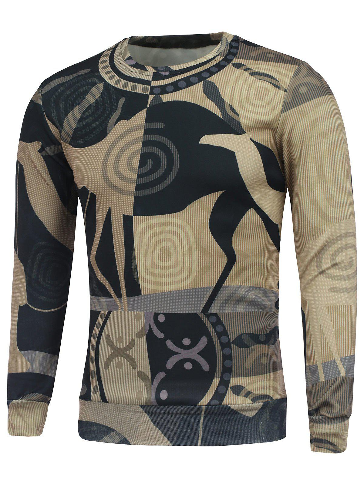 Abstract Graphic Printed Crew Neck Sweatshirt 2XL
