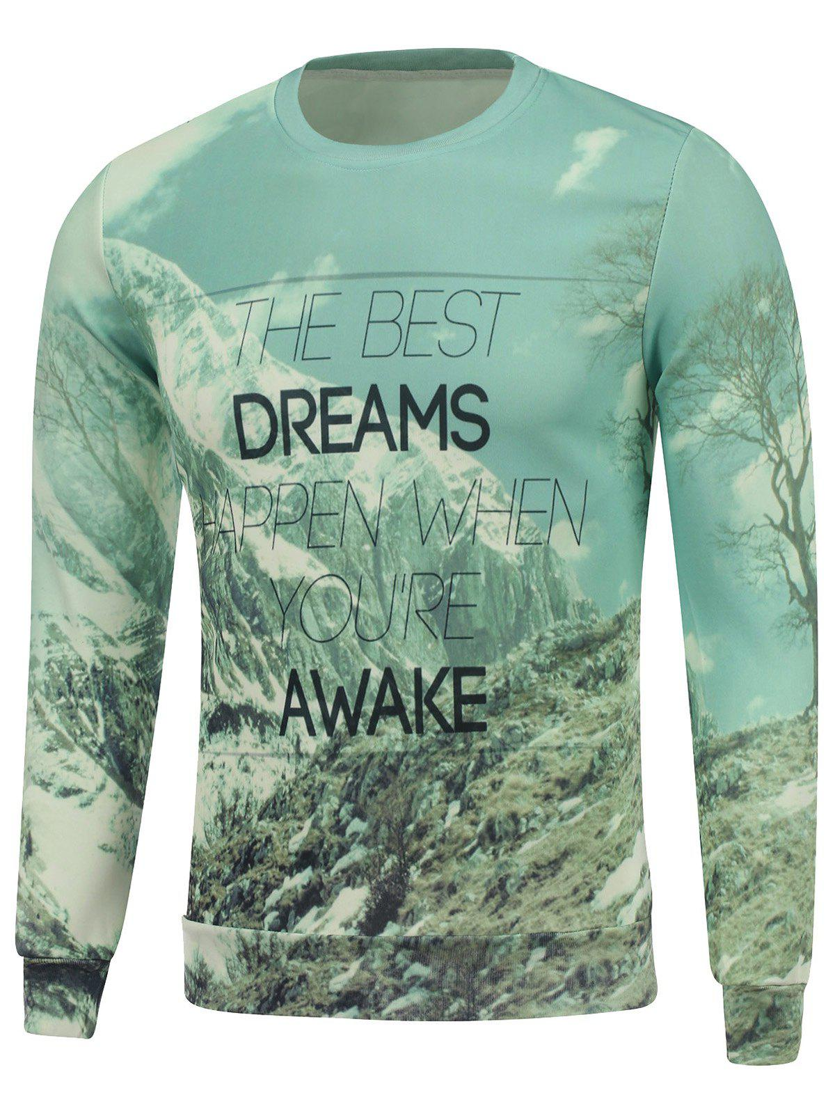 Hot Dreams Snow Mountain Printed Crew Neck Sweatshirt