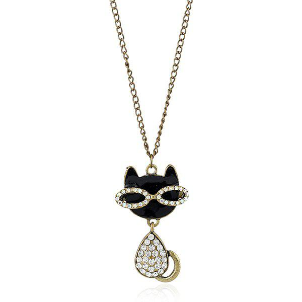 Rhinestone Kitten Pendant Sweater ChainJEWELRY<br><br>Color: BRONZED; Gender: For Women; Style: Trendy; Shape/Pattern: Animal; Length: 70CM; Weight: 0.040kg; Package Contents: 1 x Sweater Chain;