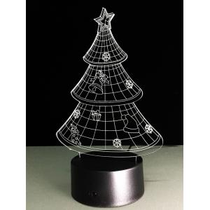 Funny 3D Christmas Tree Shape Touch Colorful Night Light - TRANSPARENT