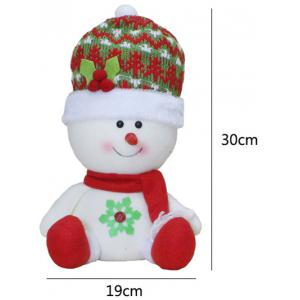 Christmas Gift Sitting Snowman Doll Xmas Decoration - RED/WHITE