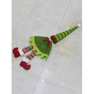 Christmas Table Decor Stripe Clothes Design Wine Bottle Cover Bag - GREEN
