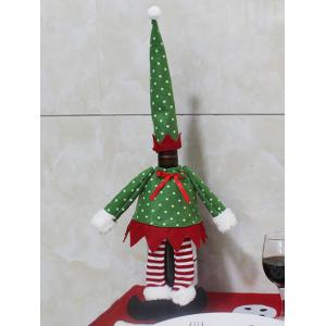 Christmas Dot Clothes Design Wine Bottle Cover Bag - Green