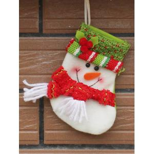 Christmas Snowman Xmas Tree Decor Hanging Present Bag Sock - Red With White - S