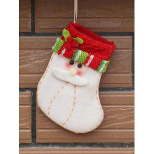 Christmas Santa Xmas Tree Decor Hanging Present Bag Sock - Red With White - S