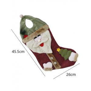 Happy New Year Christmas Santa Hanging Gift Bag Sock - RED/GREEN