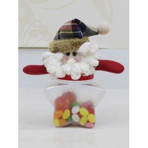 Christmas Supplies Cute Plush Santa Toy Star Shape Candy Jar