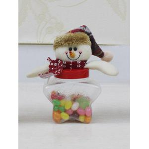 Christmas Supplies Cute Plush Snowman Toy Star Shape Candy Jar