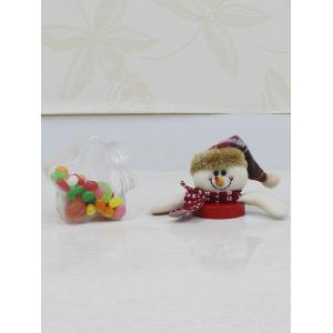 Christmas Supplies Cute Plush Snowman Toy Star Shape Candy Jar - TRANSPARENT