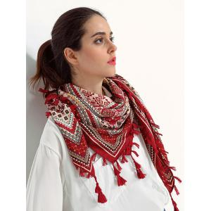 Ethnic Totem Pattern Tassel Shawl Wrap Scarf - Wine Red