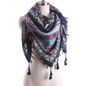 Ethnic Geometry Pattern Tassel Shawl Wrap Scarf - CADETBLUE