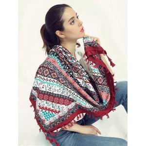 Bohemian Floral Pattern Tassel Wrap Scarf - Wine Red - 3xl