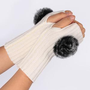 Winter Pom Ball Knit Fingerless Gloves - WHITE