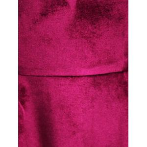 Tiered Bell Sleeve V Neck Velvet Dress - PURPLISH RED 2XL