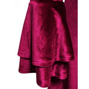 Tiered Bell Sleeve V Neck Velvet Dress -