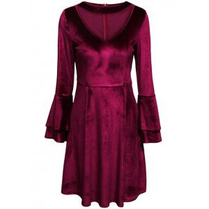 Tiered Bell Sleeve V Neck Velvet Dress - Purplish Red - Xl