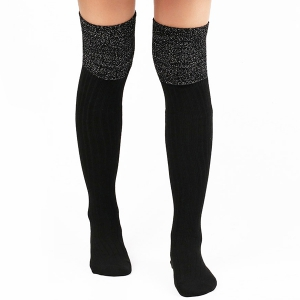 Warm Ribbed Knit Stockings - Black - One Size