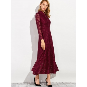 Button Long Sleeve Maxi Lace Dress -