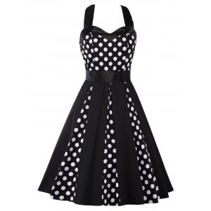 Vintage Halter Polka Dot Mini Pin Up Dress