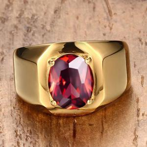 Geometric Fake Gemstone Embellished Ring - GOLDEN 8