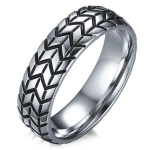 Tire Engraved Alloy Ring - Silver - 12