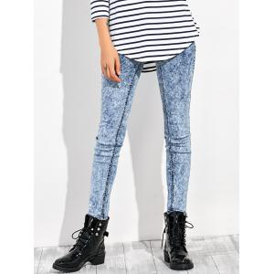 High Waisted Acid Washed Jeans