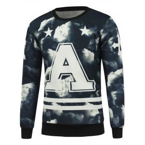 Crew Neck 3D Cloud Print Pullover Sweatshrit