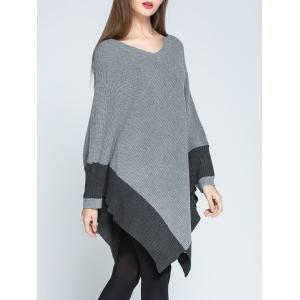 V Neck Color Block Oversized Cape Sweater -