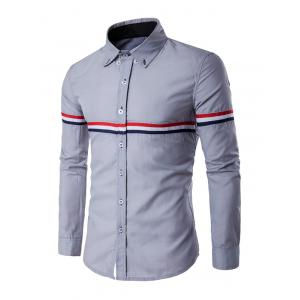 Long Sleeve Stripe Panel Button Down Shirt