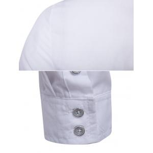 Striped Chest Pocket Back Pleat Button Front Shirt - WHITE L