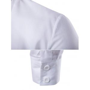 Embroidered Back Pleat Asymmetrical Front Shirt - WHITE XL