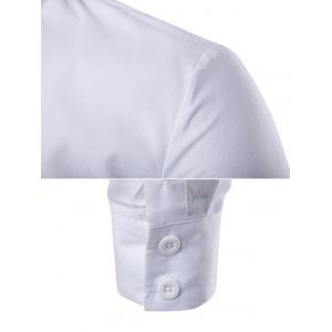 Back Pleat Asymmetrical Front Plain Shirt - WHITE M