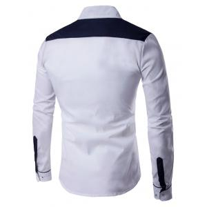 Long Sleeve Contrast Panel Button Down Shirt - WHITE 2XL